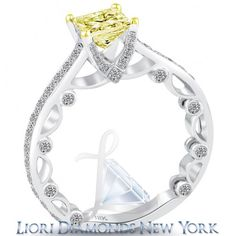 1.90 Carat Fancy Yellow Princess Cut Diamond Engagement Ring 18k White Gold - Fancy Color Engagement Rings - Engagement - Lioridiamonds.com