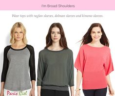 Wear raglan, dolman, or kimono style for broad shoulders. Please send some in these styles. Dresses For Broad Shoulders, Inverted Triangle Fashion, Triangle Body Shape, Cool Sweaters, Couture, Body Shapes, Passion For Fashion, What To Wear, Cute Outfits