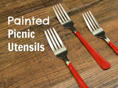 Painted Picnic Utensils Silverware