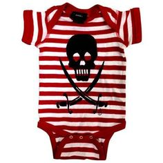 Skull & Sabre Striped onesie by Cartel Ink - Red & White - Baby Shirts (Onesies)