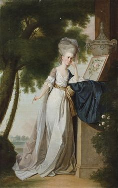Portrait of Frances Delaval, the Hon. Mrs Fenton Cawthorne (1759-1839), with a watercolour of a rose, in a landscape. Accepted in lieu of inheritance tax by H.M. Treasury and allocated to the National Trust for display at Seaton Delaval Hall, 2009. ©National Trust Images/John Hammond