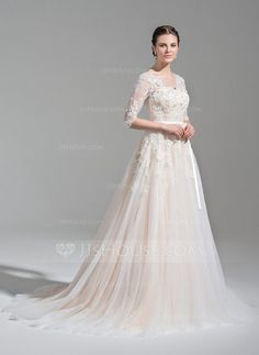 Ball-Gown V-neck Court Train Beading Appliques Lace Sequins Bow(s) Zipper Up Covered Button Sleeves 1/2 Sleeves Church General Plus No Winter Spring Fall Other Colors Tulle Height:5.7ft Bust:33in Waist:24in Hips:35in US 2 / UK 6 / EU 32 Wedding Dress