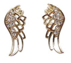 Brinco dourado com design de asa e detalhes em strass, super delicado. 2,5 cm - altura