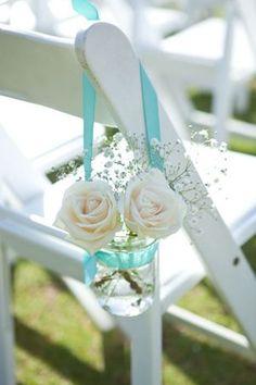 roses in mason jars with aqua ribbon wedding chair decoration ideas for beach…