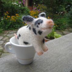 Teacup pig needle felted animal by TCMfeltDesigns on Etsy
