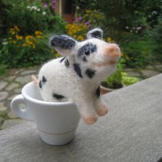 Teacup pig needle felted animal by TCMfeltDesigns on Etsy