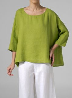 linen dropped shoulder long top - Color and Cut ...perfect!