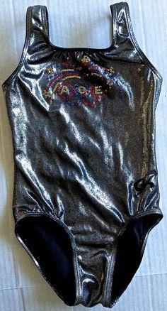 GK ELITE Metallic Sequin Leotard Gymnastics Dance ACE Olympic Rings Girls Size S #GKElite