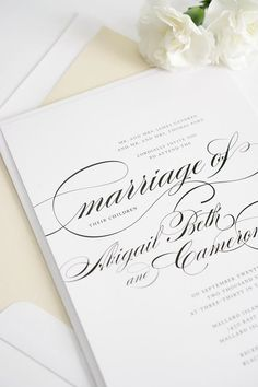 Classic Calligraphy Wedding Invitations in Champagne