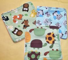 Lot of 3 Baby Children Wash Cloths Animals Owls Turtles Forest Critters  Baby Nursery Shower Gift  Stocking Stuffer on Etsy, $5.00