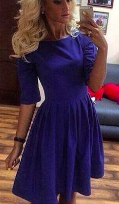 Casual New Fashion Medium Sleeve O-neck Dress - MeetYoursFashion - 1