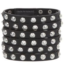 Black 6-Strap Stud Wrist Cuff | Hot Topic (555 RUB) ❤ liked on Polyvore featuring jewelry, bracelets, accessories, hot topic, spike bangle, imitation jewellery, fake jewelry, cone jewelry and studded jewelry