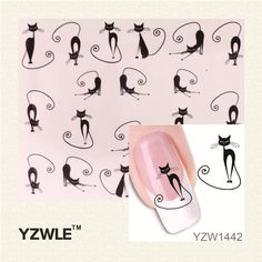 YZWLE Loveliness Cat Water Transfer Nail Stickers Gel Beauty Decal Makeup temptation Cartoon Cat Sweetheart Animation ** Be sure to check out this awesome product.