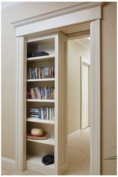 Hidden Spaces, Hidden Rooms In Houses, Secret Rooms, Pocket Doors, Hidden Door Bookcase, Sliding Shelves, My Dream Home, Home Remodeling, Basement Renovations
