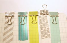 * washi tape covered binder clips