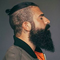 Best Beard Fade Styles - Thick Beard with Undercut and Top Knot