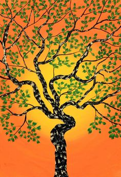 A beautiful treescape with the rising/setting sun in its background. The tree is lush green with spiked green leaves all over and the trunk and branches are textured with different colours. India Painting, Online Painting, Love Painting, Nature Paintings, Tree Paintings, Acrylic Paintings, Landscape Artwork, Tree Art, Art Techniques