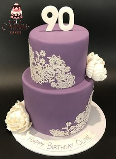 Purple Lace Birthday Cake