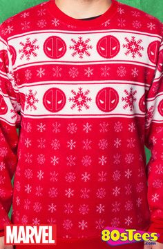 Deadpool Sublimated Faux Christmas Sweater: Marvel Mens Sweatshirt  History shouts that your holidays need to be brightened and this faux sweater will make you a celebrity and on the most-popular list.  Going to newest film or enjoying the holidays with friends, everything about this design celebrates!