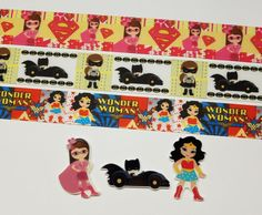 3 Yards & 3 Resin Mix. Lot Superheroes Inspired Grosgrain Ribbon and resins  #Unbranded