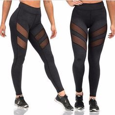 Women Four Seasons Sport Yoga Sexy Pants Leggings Openwork Perspective Stitching Fitness Gym