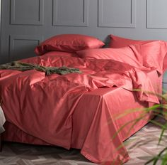 床品套件 100%棉 活性染色 樱桃红 四件套