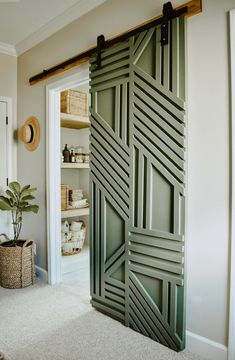 DIY Geometric Barn Door, modern barn door, diy barn door - Sharon Smith Home Diy Barn Door, Diy Door, Sliding Barn Door For Closet, Bedroom Barn Door, Tile Bedroom, Farm Door, Front Closet, Sliding Door Design, Room Door Design