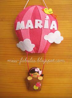 Baby name felt air balloon with little girl - Nombre bebe globo aerostático con niña en fieltro CONTACT: carmenmissfabulas@gmail.com
