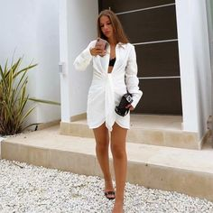 Club Dresses, Summer Dresses, Kendall, Sexy White Dress, Pleated Shirt, Androgynous Fashion, Blouse Dress, Cheap Dresses, Clothes For Women