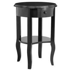 One-drawer end table in black with a lower shelf.   Product: End tableConstruction Material: WoodColo...