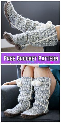 Crochet Women Sierra Slouchy Slippers Free Crochet Pattern - Home & DIY One Skein Crochet, Crochet Boots Pattern, Crochet Slipper Boots, Crochet Slippers, Crochet Baby, Slipper Socks, Crochet Sandals, Hat Crochet, Mode Crochet