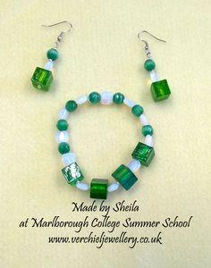 Bracelet & Earrings made by Sheila at Marlborough College Summer School run by www.verchieljewellery.co.uk