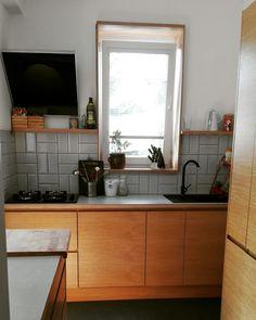 Wooden kitchen, retro tiles pattern