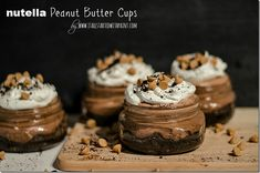 Nutella Dessert Recipe – It All Started With Paint Source by Related posts: Nutella Stuffed Churros! A fun no-bake Nutella dessert recipe, this No Bake Nutella Cheesecake recipe can… Nutella Mason Jar Desserts, Parfait Desserts, Just Desserts, Delicious Desserts, Dessert Recipes, Yummy Food, Jar Recipes, Mason Jars, Xmas Desserts