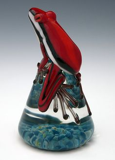 Red Racer Stripe Frog by Eric Bailey: Art Glass Paperweight available at www.artfulhome.com