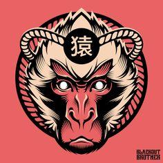 Graphic Design Illustration, Art And Illustration, Japanese Pop Art, Samurai Artwork, Monkey King, Monkey Art, Ink Art, Vector Art, Chinese Art