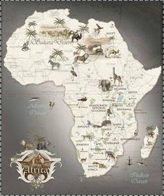 Safari Map of Africa Kenya Travel, Africa Travel, Vintage Maps, Vintage Travel, African Safari, African Art, South Africa Safari, Out Of Africa, Photos Voyages