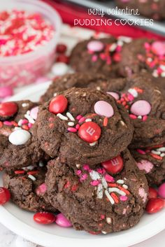 These Very Valentine Pudding Cookies are the perfect chocolate cookie recipe for Valentine's Day! Chocolate and soft, they're so good!