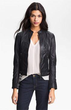 La Marque Perforated Leather Moto Jacket | good look - silk shirt, dark skinnies, leather jacket