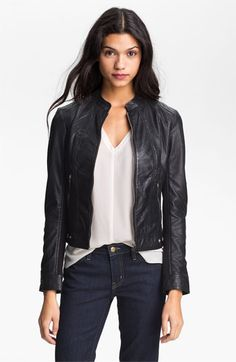 La Marque Perforated Leather Moto Jacket | good look - silk shirt, dark skinnies, leather jacket