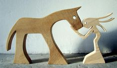 the horse is made of walnut, Maple Lady height (horse): 15 cm (horse and woman) width: 30 cm thickness: 2 cm saw Jigsaw, sanded by hand, a beautiful September morning Wooden People, Wooden Man, Wood Projects, Woodworking Projects, Easy Arts And Crafts, Horse Sculpture, Into The Woods, Diy Holz, Scroll Saw Patterns