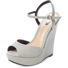 Schutz Elhan Wedge Sandal ($50) ❤ liked on Polyvore featuring shoes, sandals, grey, gray wedge sandals, wedge heel sandals, ankle tie sandals, ankle wrap sandals and ankle strap sandals