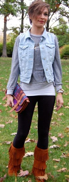 Jean Vest In The Fall