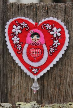 Matryoshka  in Valentine Heart with White by TheSnowQueensGarden, $27.50