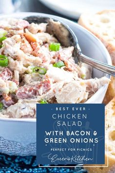 If you love bacon, this easy recipe will make the chicken salad sandwich of your dreams! With just a few ingredients, lunch is served! #chickensaladwithbaconandgreenonions #errenskitchen Lunch Recipes, Dessert Recipes, Desserts, Mincemeat Recipe, Whats For Lunch, Mince Meat, Five Ingredients, Salad Sandwich, Yummy Eats
