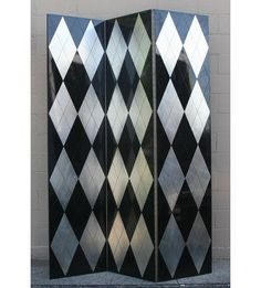 "Massive French Art Deco black lacquer and silver leaf three panel diamond motif room divider/screen. 95 1/2""H x 24""W each panel."