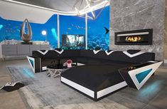 Designer Sofa Mystique Xxl Mit Led Beleuchtung Usb Anschluss