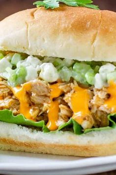 Buffalo Pulled Chicken Sandwich with celery coleslaw Crockpot Recipes, Chicken Recipes, Quick Family Meals, Buffalo Chicken Sandwiches, Kid Friendly Dinner, Coleslaw, Celery, Coleslaw Salad