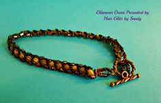 $25.00 New anklet now available at www.hairglitzbysandy.etsy.com.  Yellow cat's eye beads with copper cylinder beads.  Beautiful!