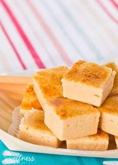 Crème Brulee Fudge - smooth creamy vanilla fudge with a golden and crunchy caramel top.